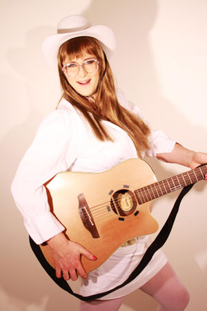 Mary Lou Cougar with guitar